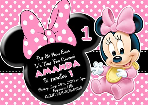 baby minnie mouse birthday invitations baby minnie mouse 1st birthday invitations