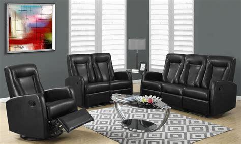 Black Leather Reclining Living Room Sets 82bk 3 Black Bonded Leather Reclining Living Room Set From