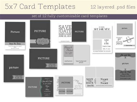 12 5x7 Card Templates Instant Download 5x7 Card Templates