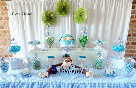 Monkey Baby Shower Blue And Green Candy Buffet Candy Green And Blue Buffet
