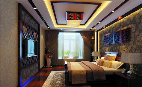 3d bedroom 3d bedroom with chinese wallpaper and ceiling download
