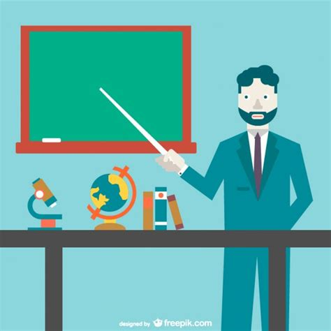 design art education teacher pointing to the blackboard vector free download