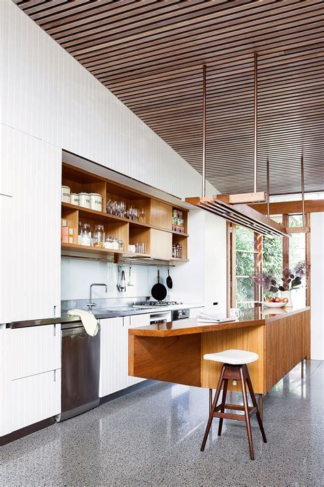 Timber Ceiling Battens by Kitchen Blackbutt Timber Ceiling Battens White Cabinets