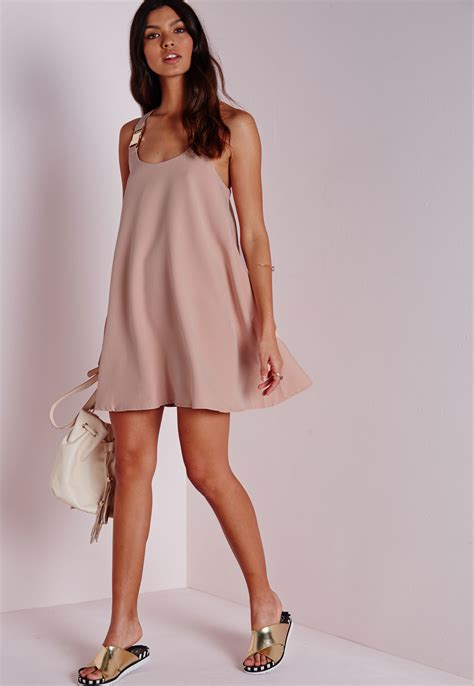 pink swing dresses missguided buckle swing dress blush pink in pink lyst