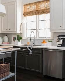 amazing kitchen features tuxedo cabinets white