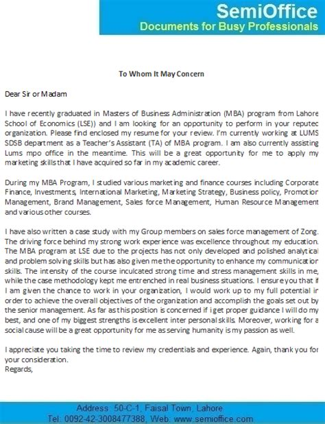 cover letter for mba freshers job application