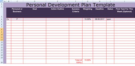 Personal Plan Exle Get Personal Development Plan Template Excel Spreadsheettemple