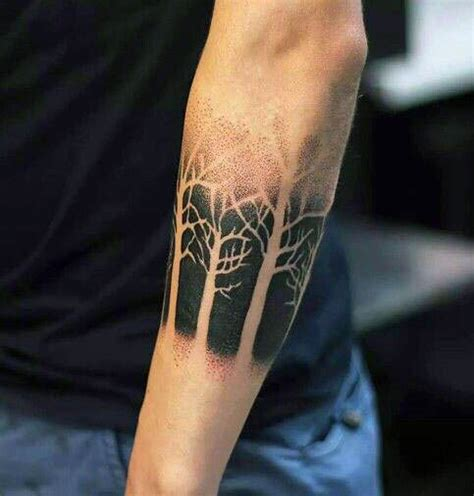 tree tattoos forearm 60 negative space designs for manly ink ideas