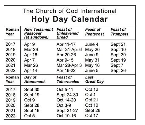 Calendar 2018 Special Days Holy Day Calendar The Church Of God International