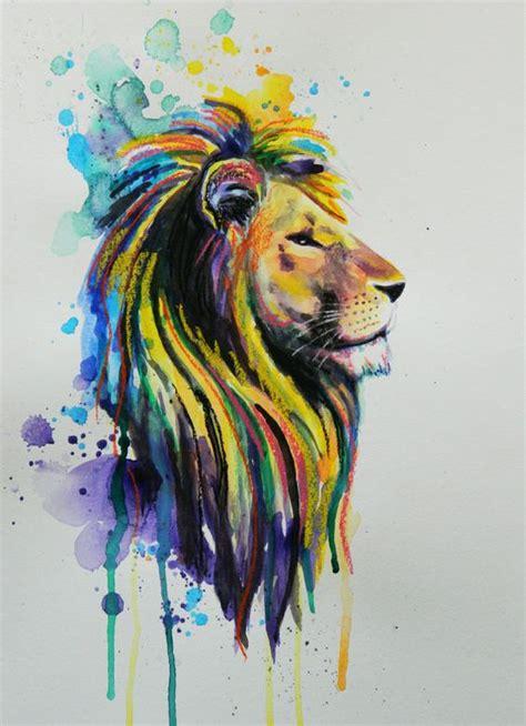 proud yellow lion  blue watercolor background tattoo design tattooimagesbiz