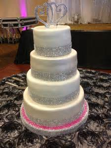 rhinestone cake glitter and bling wedding cake 2 tiers pearl shimmer fondant and 2 tiers plain white fondant