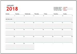 2018 calendar templates for ms excel word amp excel templates