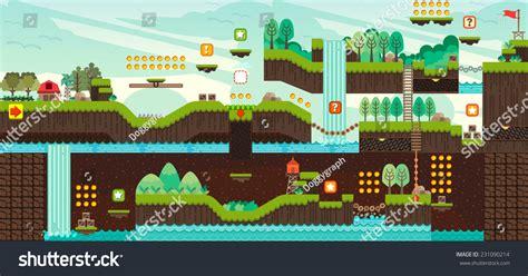 design pattern online quiz tile set platform game seamless vector 스톡 벡터 231090214