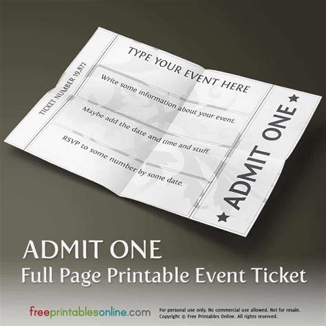 printable full page ticket template  printables