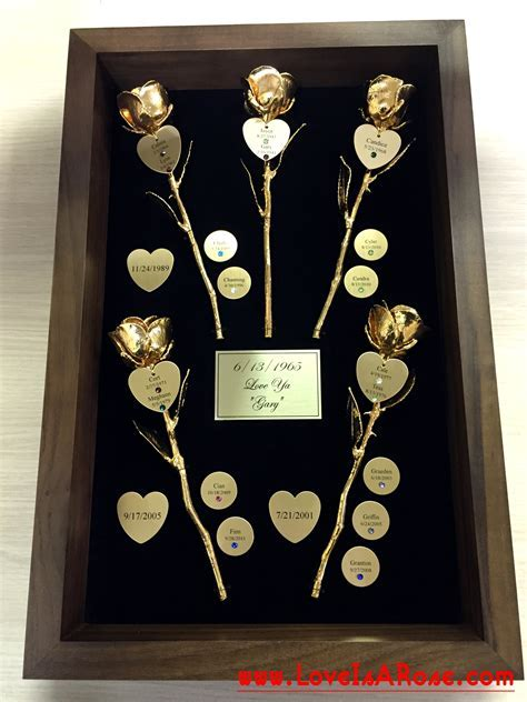 Gold Roses for Custom 50th Anniversary Gifts : Love Is A