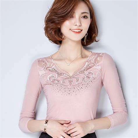 black patchwork lace v neck slim dacron blouse blouses tops new office t shirts women pink black patchwork lace t