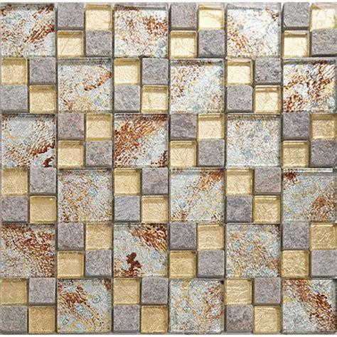 Kitchen Backsplash Mirror natural stone mosaci tile wall art gold crystal glass