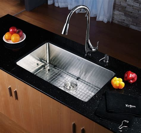 Scratch Resistant Kitchen Sinks Kraus Khu10030 30 Inch Undermount Single Bowl Kitchen Sink With 16 Stainless Steel