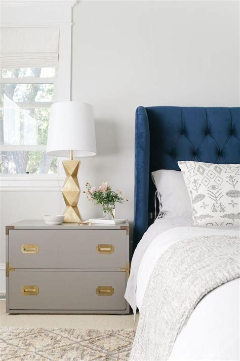perfect pair navy gold grey nightstands gold grey bedroom  white linens