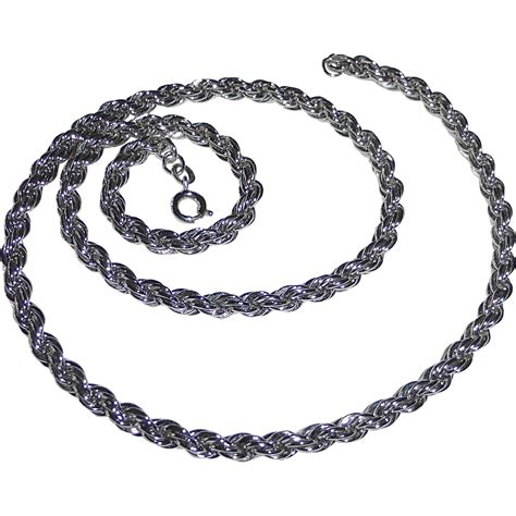 sterling silver thick rope chain necklace from rubylane