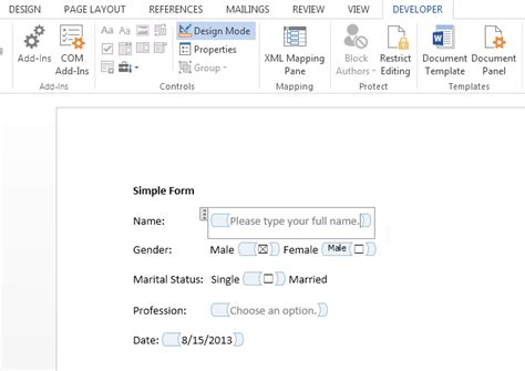 design form word 2013 how to create data entry forms in word 2013