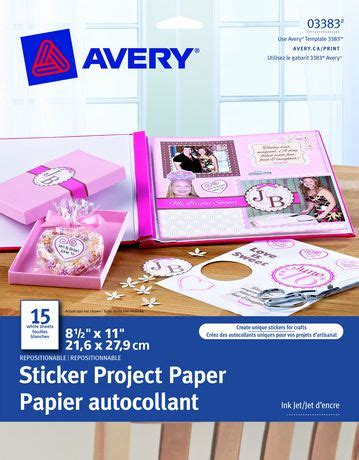 printable sticker paper walmart avery 174 sticker project paper 8 1 2 quot x 11 quot pack of 15