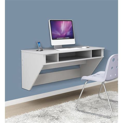 Prepac Soho White Floating Desk Small Floating Desk