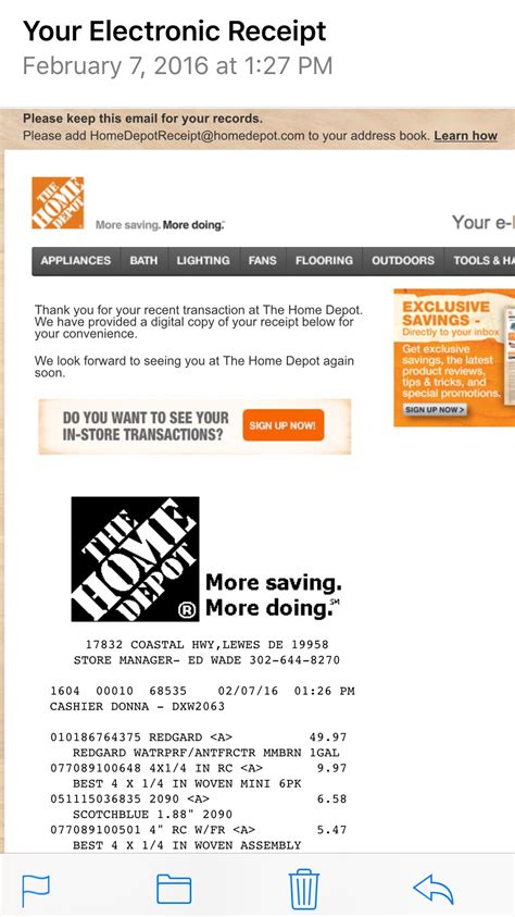 Home Depot Receipt Template With Restoleum by Home Depot E Mail Receipt Pro Construction Forum Be