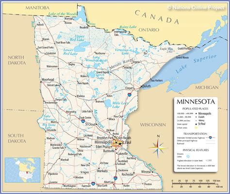 minnesota on the map of usa reference maps of minnesota usa nations project