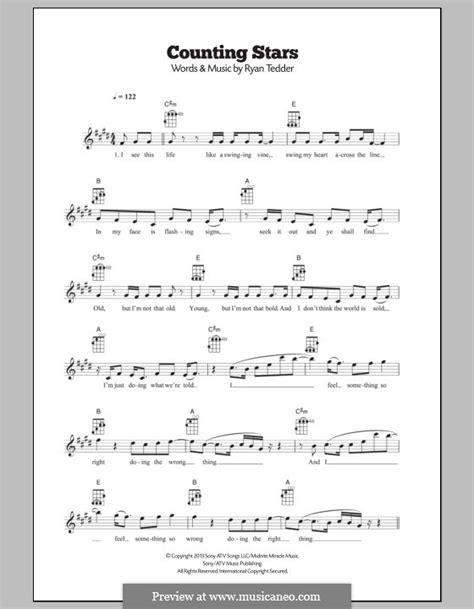 printable lyrics counting stars counting stars one republic by r b tedder sheet music