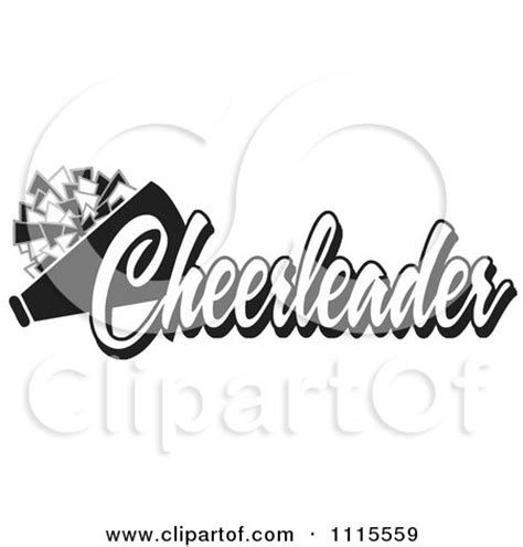 clipart red cheerleader text with a pom pom and megaphone