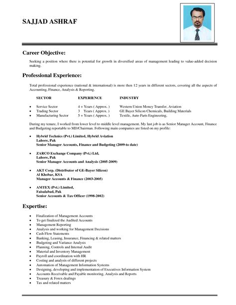 Resume For by Resume Objective Sles Management