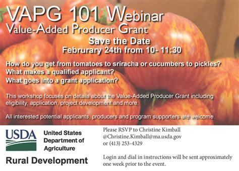 value added follow up grant value added producer grant informational workshop webinar march 2 berkshire grown