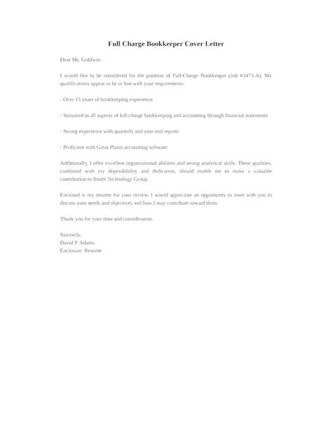 basic full charge bookkeeper cover letter sles and