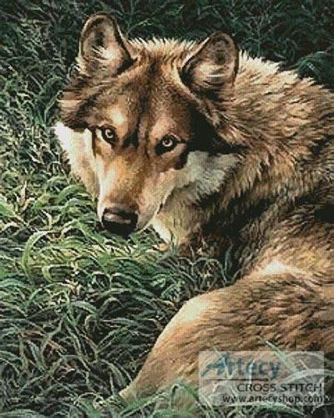 wolf painting cross stitch pattern wild
