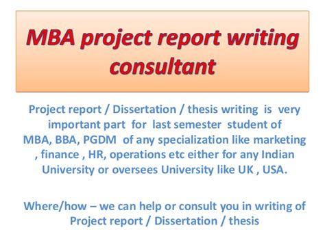 Mba Consultancy Project Exle by Dissertation Consultant