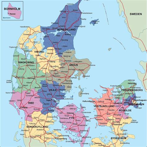 a map denmark political map illustrator vector eps maps eps illustrator map our cartographers