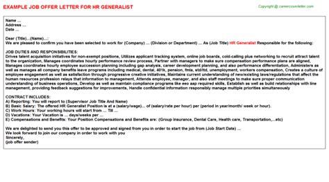 Offer Letter Exle Shrm hr generalist offer letter