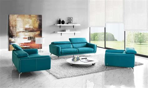 sprint teal leather sofa set 6476 29 modern living