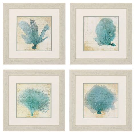 Reflections Bedroom Set by Framed Coral Prints Set Of 4 Blue Beach Style Prints