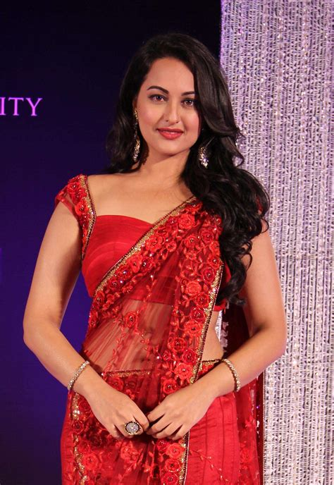film india hot full sonakshi sinha in red saree hd wallpapers
