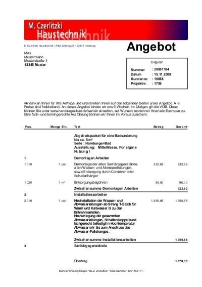 Angebot Freibleibend Text Musterangebot Hamburger Bad 6666 M Czerlitzki