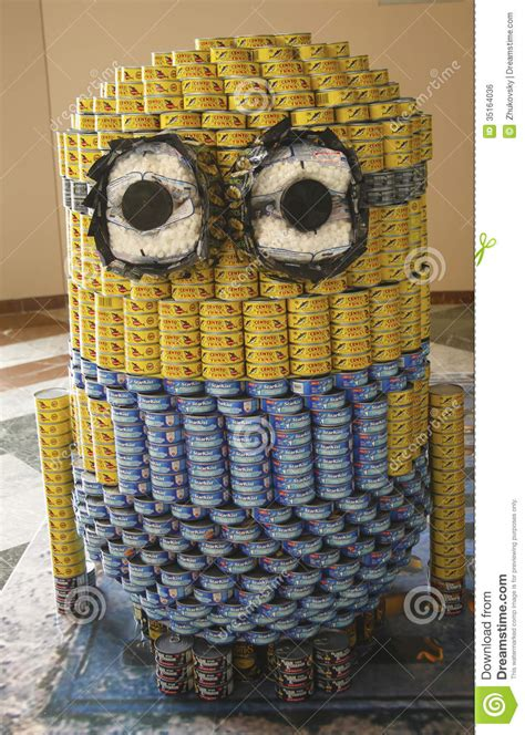 how to build a canned food sculpture food sculpture presented at 21st annual nyc canstruction competition in new york editorial photo