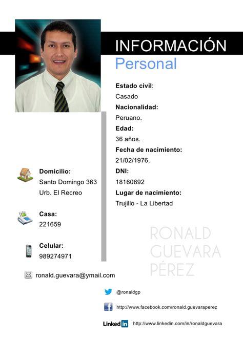 Modelo De Curriculum Vitae Peru En Pdf Curriculum Vitae Ronald Guevara P 233 Rez 2012