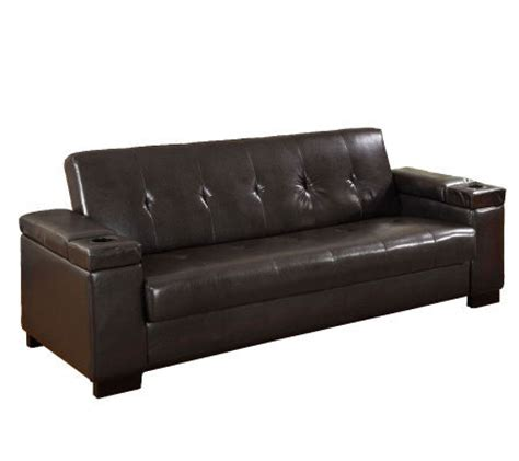 logan faux leather futon sofa bed qvc