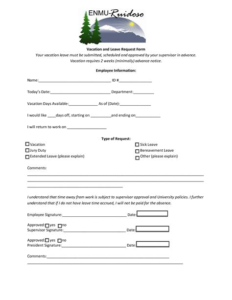 vacation leave request form template best photos of leave request form template employee