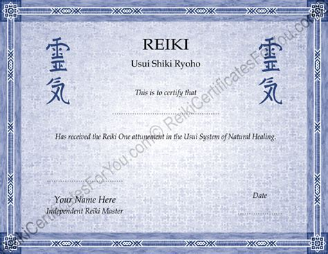 reiki certificates for you