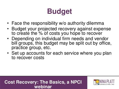 Recovering A Cost by Cost Recovery The Basics