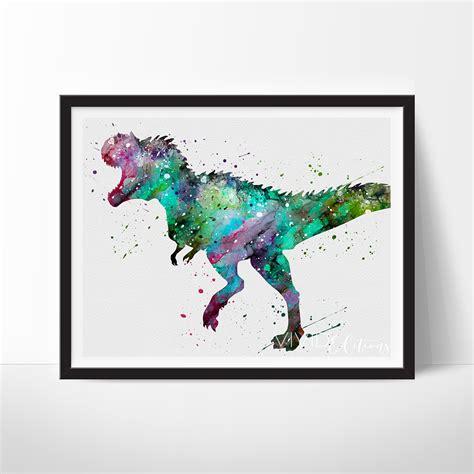 decoracion habitaciones infantiles dinosaurios tyrannosaurus rex dinosaur watercolor art print