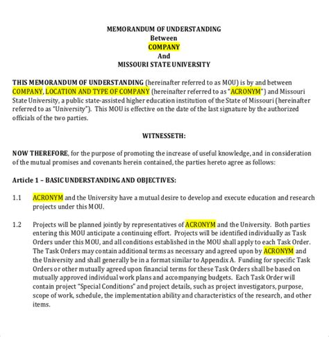 template for memorandum of understanding in business memorandum of understanding template 14 free word pdf